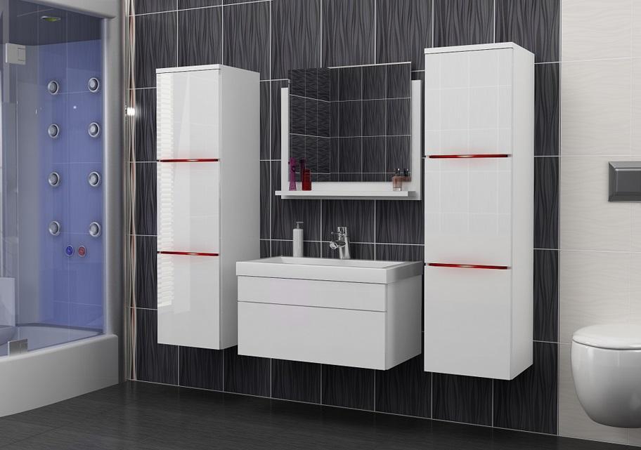 biały połysk meble łazienkowe łazienka do łazienki wyposażenie